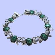 Sterling Silver Dimensional Filigree Bracelet Green Glass Stones