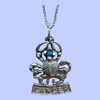 Vintage Sterling Silver Figural Cancer Crab Zodiac Pendant Necklace