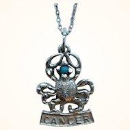 Vintage Sterling Silver Figural Cancer Crab Zodiac Pendant Necklace