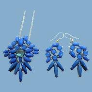 Vintage Holly Hill Blue Cabochons Pendant Necklace Dangle Pierced Earrings Set