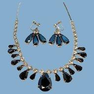 Vintage Metallic Clear Rhinestone Choker Prom Necklace Dangle Earring Set