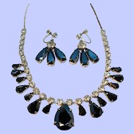 Vintage Metallic Clear Rhinestone Choker Prom Necklace Dangle Earring Set