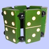 Chunky Green Bakelite Dominoes Elastic Bracelet