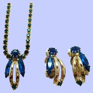 Vintage Blue Green Rhinestone Goldtone Necklace Clip On Earring Set