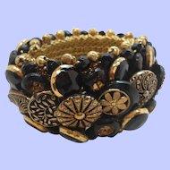 Vintage Mixed Textured Goldtone Black Metallic Button Bracelet