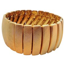 Monet Textured  Goldtone Metal Expansion Bracelet