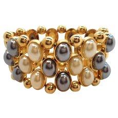 KJL  Imitation Pearls Goldtone Metal Stretchy Bracelet