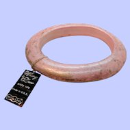 Whiting Davis Pink  Oval Shaped Bangle Bracelet Mint with Tag