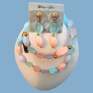 Whiting Davis Pastel Beaded Necklace Dangle Pierced Earring Set
