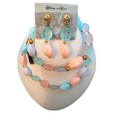 Whiting Davis Pastel Beaded Necklace Dangle Pierced Earring Set