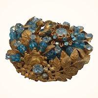 Miriam Haskell Large Dimensional Intricate Aquamarine Blue Rhinestone Beaded Brooch