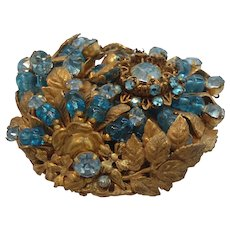 Miriam Haskell Large Dimensional Intricate Aquamarine Blue Rhinestone Beaded Brooch
