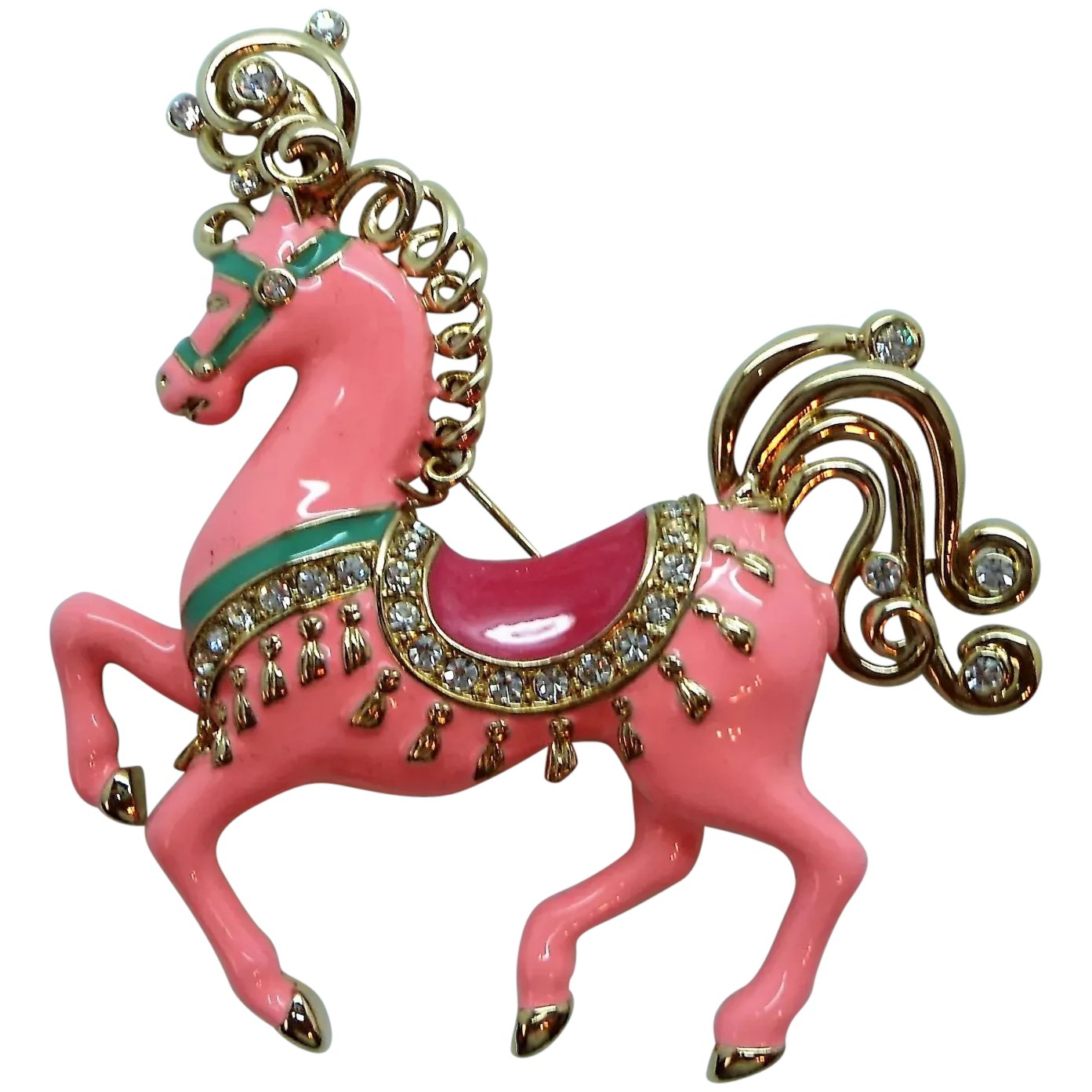 Bob Mackie Pink Carousel Horse Brooch Mint In Box Elaine S Antiques Collectibles Ruby Lane