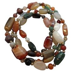 Heavy Large Chunky Polished Genuine Stone Beaded Single Strand Necklace