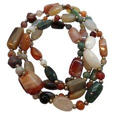 Heavy Long Single Strand Necklace Large Polished Stone Beads
