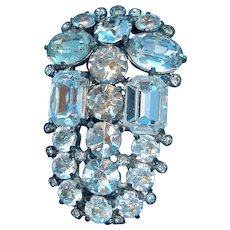 Eisenberg Original Art Deco Large Clear Rhinestones Brooch
