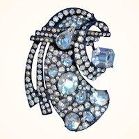 Eisenberg Dimensional Sterling Art Deco Clear Rhinestone Fur Clip As Found