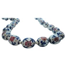 Vintage Large Oriental Oval Porcelain Knotted Beaded Necklace
