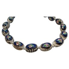 Vintage Oriental Blue Pink Oval Hand Painted Porcelain Beaded Necklace