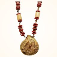 Monet Geometric Design Beaded Necklace Shell Shell Shaped Drop