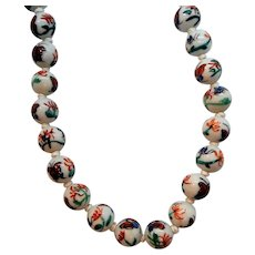 Vintage Oriental Hand Painted Orange Green Butterfly Porcelain Beaded Necklace