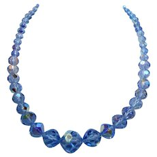 Vintage Multi Faceted Aurora Blue Crystal Beaded Necklace