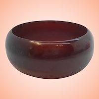 Wide Domed Flat Band Caved Center Rootbeer Brown  Bakelite Bangle Bracelet