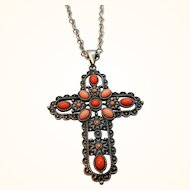 Orange Pink Cabochon Stones Textured Silvertone  Cross Pendant Necklace