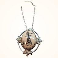 Silvertone Metal Oval Shaped  Windmill Pendant Necklace