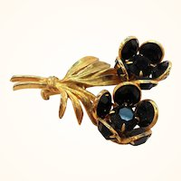 Dimensional Black Faceted Glass Double Flowers  Goldtone Brooch