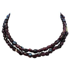 Geometric Shaped Genuine Garnets Beaded Necklace