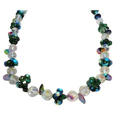 Aurora Green & Clear Crystal Beaded Necklace