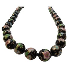 Oriental Hand Painted Porcelain Beaded Necklace Black Pink Green Flowers