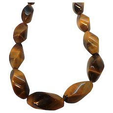 Oval Shaped Large  Genuine Tigers Eye Stone Beaded Necklace