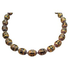 Large Oval Shaped Intricate Gold Black Cloisonne Beaded Necklace