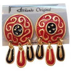 Fernando Original Large Red Enameled Dangle Pierced Earrings  NOS MOC