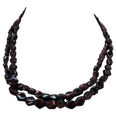 Pair Genuine Garnet Geometric Shaped Stone Beaded Chokers