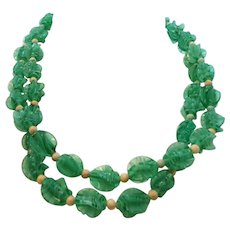 Vintage Green White Swirled Textured Heavy Plastic Beaded Necklace