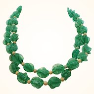 Vintage Long Green White Swirled Textured Heavy Plastic Beaded Necklace