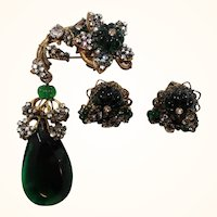Miriam Haskell Intricate Green Glass Beaded Brooch Earring Set Horseshoe Symbol