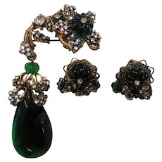 Miriam Haskell Intricate Green Glass Beaded Brooch Earring Set Horseshoe Symbol