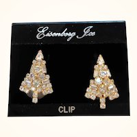 Eisenberg Ice Clear Rhinestone Christmas Tree Clip On Earrings Original Card NOS