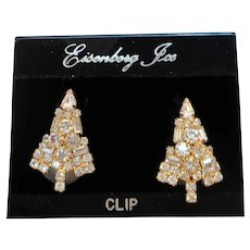 Eisenberg Ice Clear Rhinestone Christmas Tree Clip On Earrings Original Card NOS