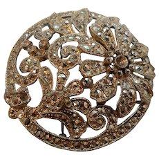 Vintage Round Dimensional Silvertone Metal Flower Brooch