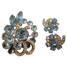 Eisenberg Blue Dimensional Brooch Clip On Earring Set As Found