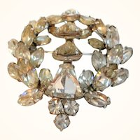 Eisenberg Dimensional Layered Clear Rhinestone Wreath Shaped Brooch As Found