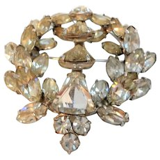 Eisenberg Dimensional Layered Clear Rhinestone Wreath Shaped Brooch