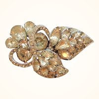 Eisenberg Clear Rhinestone Dimensional Floral Bouquet Brooch  As Found