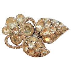 Eisenberg Clear Rhinestone Dimensional Floral Bouquet Brooch  As Found
