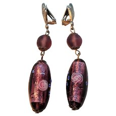 Purple Murano Glass Wedding Cake Dangle Clip On Earrings
